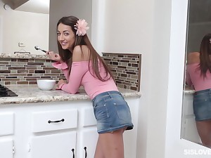 Skinny petite teen Lily Adams pounded against the wall and edibles cum