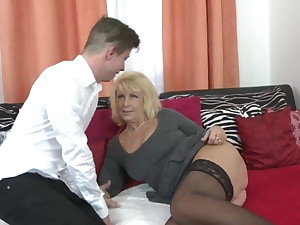 Lovely old mom seduce young horny son
