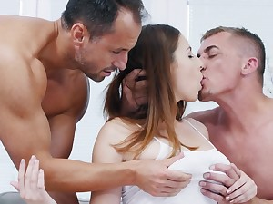 Excited guys shelter natural mistress with parrot deepness