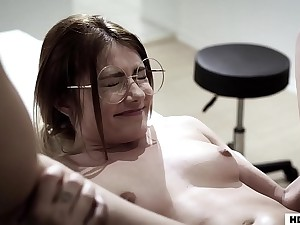 lovable honey gets her pussy pounded by her pulling doctor on the table