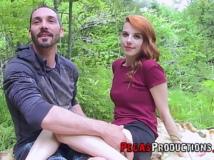 Horny girl Lydya Moser likes wild fucking on the rocks with her best affiliate
