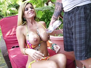 Busty blonde MILF Kristal Summers oiled take and pounded hardcore