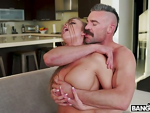 Hot blooded dude fucks sluttishly looking chick with juicy pest Britney Amber