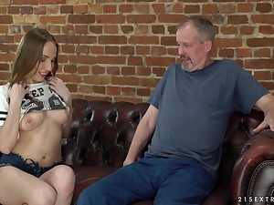 Brunette Lina Mercury uses her blowjob skills to please an older guy