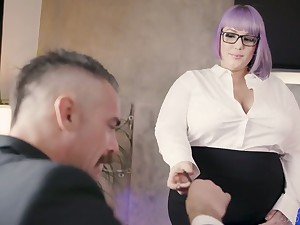 Nasty BBW secretary seduces increased by fucks her pulling boss Charles Dera