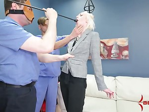 Submissive blonde sucks dud'e foot and gets her anus toyed and fucked