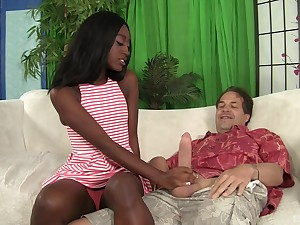 sexy ebony Monica Rae becomes horn-mad as a result she jumps on hard penis