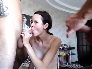 Hardcore double in detail threesome