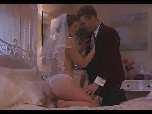 Smoking hot wife Ella Evening star enjoys her wedding night together with takes cum on hairy snatch
