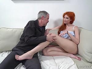Red haired nympho Gisha Forza bang pensioner living nextdoor