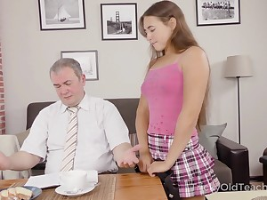 Cute student Mara Gri gets her pussy fucked wits kinky old teacher