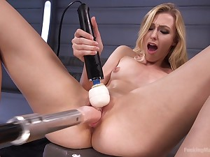 Amateur puts the fucking machine to work her tiny holes